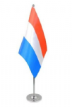 Netherlands Desk / Table Flag with chrome stand and base.